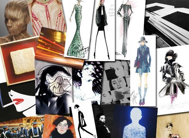 Moodboard com as inspirações e os croquis dos estilistas na NYFW (Foto: Reprodução)