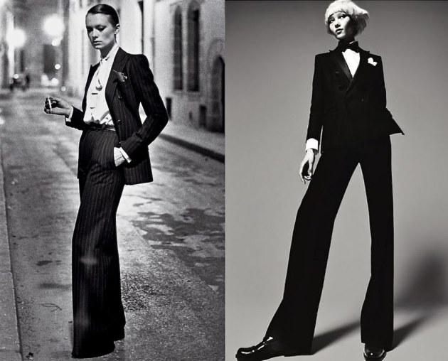O smoking foi lançado para as mulheres por Yves Saint Laurent, em 1966.