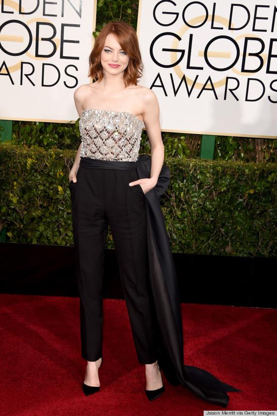 Emma Stone arrasou com macacão Lanvin e makeup da Chanel.